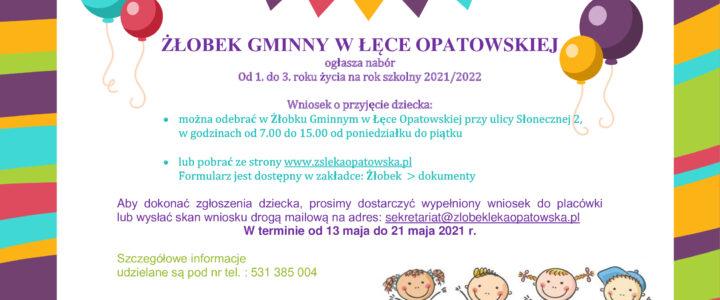 Nabór dzieci do Żłobka Gminnego w Łęce Opatowskiej